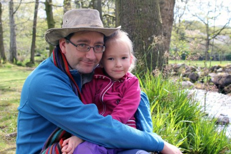 Walks Around Britain's editor Andrew White with one of his daughters, Olivia